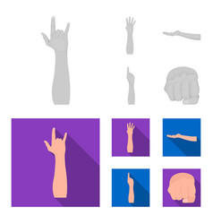 Sign language monochromeflat icons in set vector