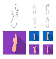 Sign language outlineflat icons in set collection vector