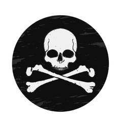 Skull and crossbones vintage black emblem vector image
