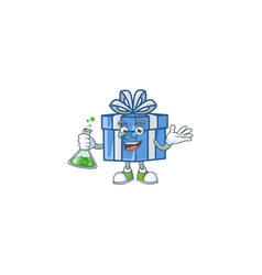 Smart professor blue gift box cartoon character vector