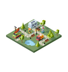 street food festival colorful isometric vector image