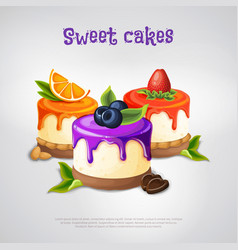 Sweet cakes composition vector