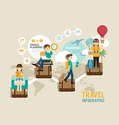 Travel board game flat line icons concept infograp vector
