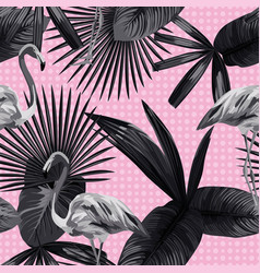 tropical leaves seamless flamingo background vector image