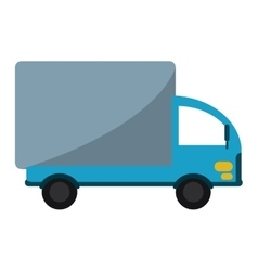 Truck mini delivery cargo with shadow vector