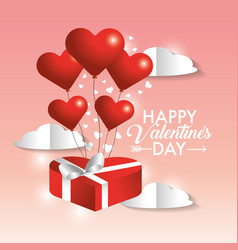 valentine present gift with hearts balloons vector image