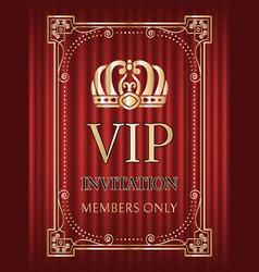 vip invitation for members only golden frame vector image