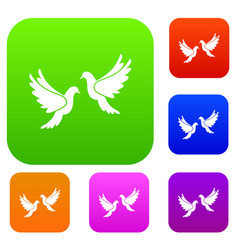 wedding doves set collection vector image