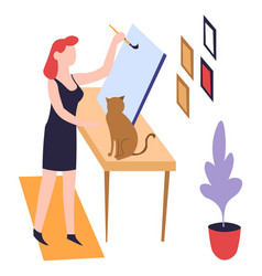 Woman painter painting hobcanvas and paintbrush vector