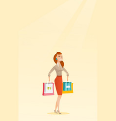 young happy caucasian woman with shopping bags vector image