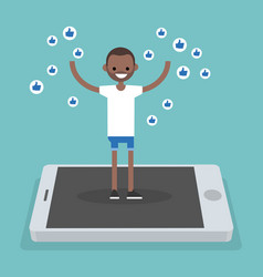 Young successful black man standing on mobile vector