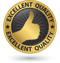 Excellent quality golden sign with thumb up vector image vector image
