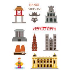 hanoi vietnam landmarks architecture building vector image vector image