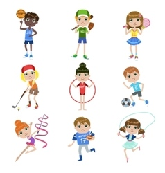Kids doing sports set vector
