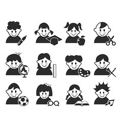 kids head with education icons set vector image vector image