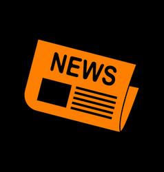 newspaper sign orange icon on black background vector image vector image