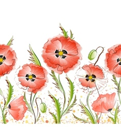 Seamless Texture with Red Poppy Flowers vector image vector image