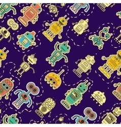 colorful pattern with toy robot vector image