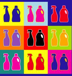household chemical bottles sign pop-art vector image