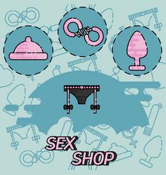 sex shop flat concept icons vector image