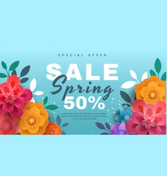 spring sale banner with paper flowers on a blue vector image