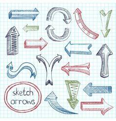 Arrows icon set sketch vector image vector image
