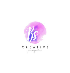 bs watercolor letter logo design with purple vector image vector image