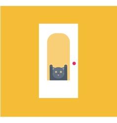 cat behid the door vector image vector image