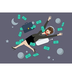 Greedy business woman floating in the space vector