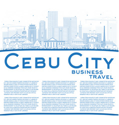 outline cebu city philippines skyline with blue vector image