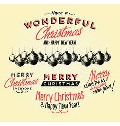 Retro Vintage Merry Christmas Tin Sign vector image vector image