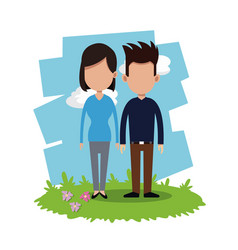 couple relationship field background vector image