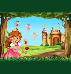 cute princess and fairies in garden vector image vector image