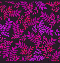 floral seamless pattern with purple leaves on dark vector image