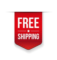 Free Shipping ribbon red vector image