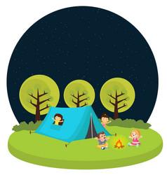 kids children camping tent outdoor fun activity vector image vector image