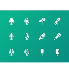Microphone icons on green background vector image vector image