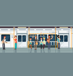 modern subway passenger carriage interior with vector image
