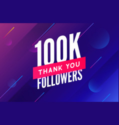 100000 followers greeting social card vector