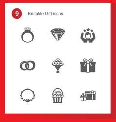 9 gift filled icons set isolated on icons set vector