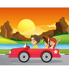 A boy travelling with two cute girls vector image