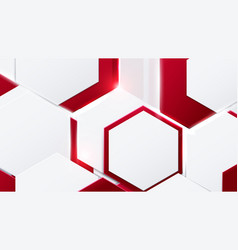 abstract red and white hexagons technology vector image