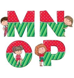 Alphabet kids mnop vector
