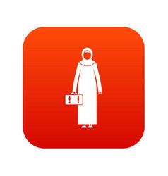 Arabic woman icon digital red vector