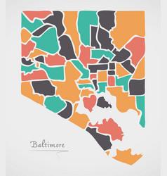 Baltimore maryland map with neighborhoods and vector