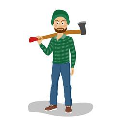 Bearded lumberjack in hat holding big axe vector