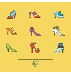 Beautiful set of various shoes and sandals vector image