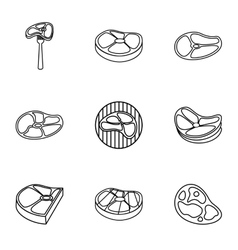 Beef icons set outline style vector
