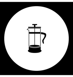 Black isolated french press pot coffee maker eps10 vector