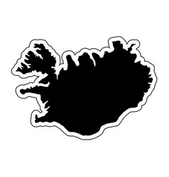 black silhouette of the country iceland with the vector image